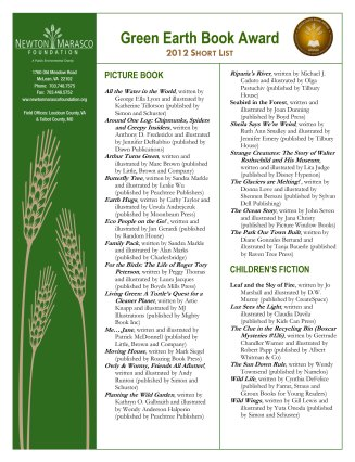 2012 Green Earth Book Award Short List-1